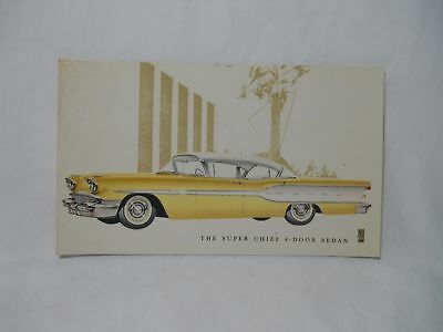 1958 Pontiac Super Chief 4 Door Sedan Advertising Postcard Original Nos Unused