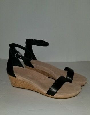0d531c32ae0 New Ugg Women s Emilia Black Wedge Leather Cork Strap Suede Sandals Size  10