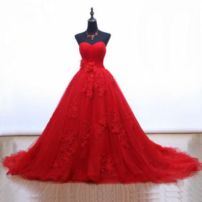 Red Ball Gown Color Wedding Dress Sweetheart Tulle Lace Applique Bridal Dresses