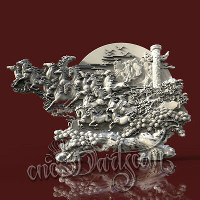 3D Model STL CNC Router Artcam Aspire Horses Running Decor Panel Cut3D Vcarve