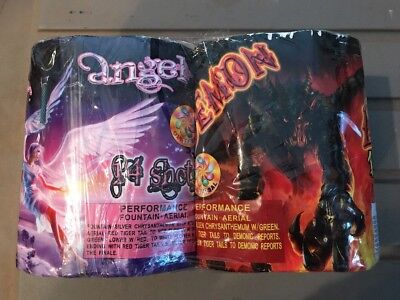 Angel & Demon Cakes 14 Shots Fireworks Cake Label With Graphics Salutes 2 Pc.