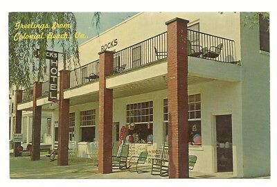 1950s COLONIAL BEACH VIRGINIA VIEW OF THE ROCKS HOTEL & THE ROCKS NOVELTY SHOP