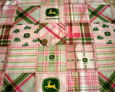 2 Yards Green John Deere Combine Tractor Plaid Cotton Fabric