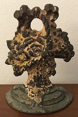 Antique Victorian Cast Iron Doorstop-Flowers in Basket-Original-Vintage