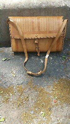 West African Tan Vintage Tooled Leather Shoulder Purse Medium Bag