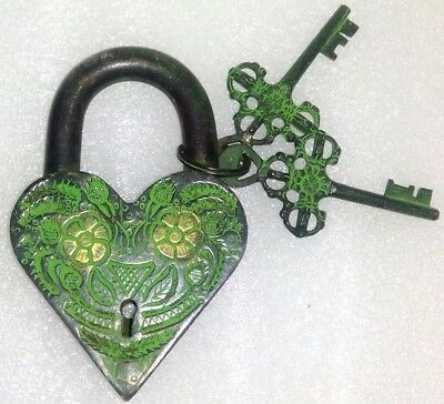 Old Antique style Brass made lovely Heart Shape PADLOCK with 2 keys from India