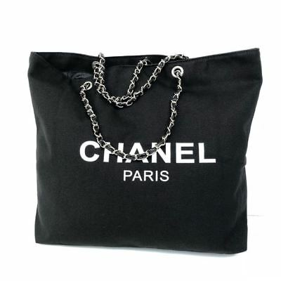 New Chanel VIP fabric canvas black tote Gold chain.