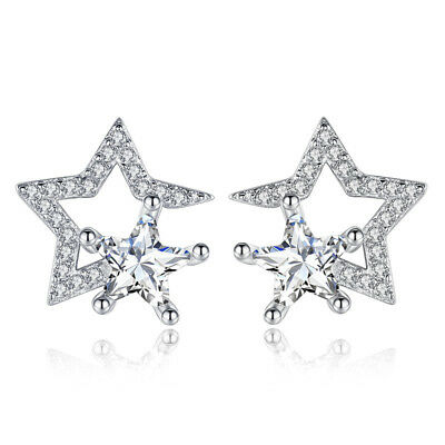 925 Sterling Silver Crystal CZ Star Shape Stud Earrings Women Fine Jewellery