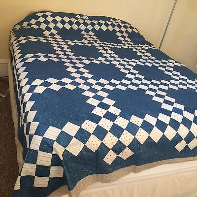 Antique? vtg crisp quilt top IRISH CHAIN hand pieced appliqué indigo white 88x88