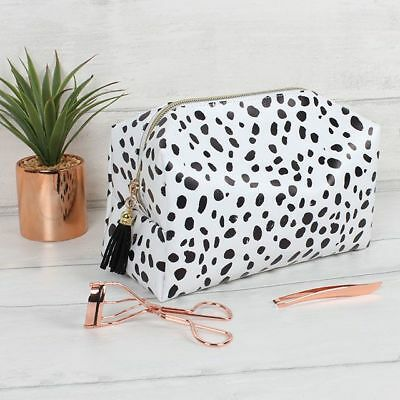 Dalmatian Print Make Up Bag - Tassel Make Up Bag - Black & White Make Up Pouch