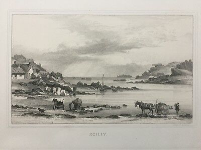 1875 Antique Print; Pulpit & Gull Rocks, St Mary's, Scilly after Charles G Lewis