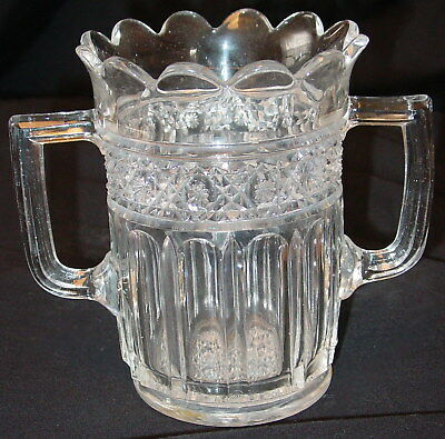 """Antique Vintage Molded Pressed Glass Two Handle Vase?- 6 1/4"""" X 4"""" X 5 1/2"""""""