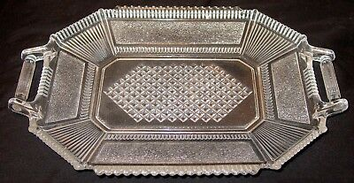 """Antique Molded Pressed Glass 2 Handle Serving Platter-Tray-13"""" X 8 1/2"""" X 1 3/8"""""""