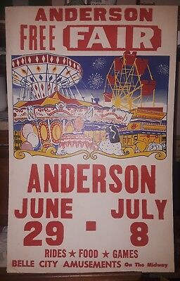 Anderson Free Fair Poster. Anderson, Indiana. 1970's?
