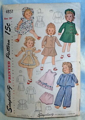 """1930's Simplicity Vintage Doll Pattern #1851 for 20"""" Toddler Clothes UNCUT"""