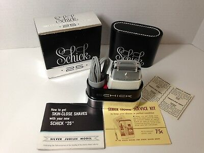 "Vintage Schick ""25"" Silver Jubilee Model Electric Shaver - Excellent Cond"
