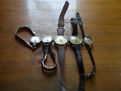 job lot of 5 vintage ladys hand winding watches all ticking spares or repair