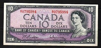 Canada - 1954 Bank of Canada 10 Dollar note P79b/BC-40b  VF+/aXF Condition QEll