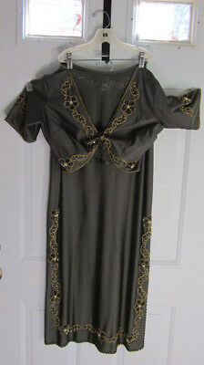 belly dance costume outfit egyptian style green gold hand decorated size 10-12