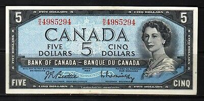 Canada - 1954 Bank of Canada 5 Dollars note P77b/BC-39b-i XF/aXF+ Condition QEll