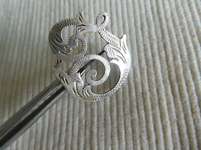 Broche Argent Massif Ancienne  Fleur Poisson Serpent Snake Dragon Fish B902
