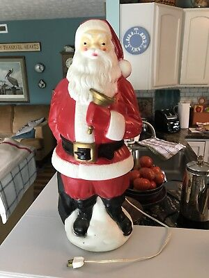 VINTAGE 1969 EMPIRE BLOWMOLD CHRISTMAS Lighted SANTA CLAUS Gold BELL