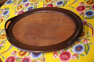 Vintage antique Tray oval wood handles 18X13 shabby chic project
