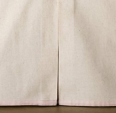 Restoration Hardware Appliquéd Hearts Crib Skirt Pink Flax Beige Baby Girl