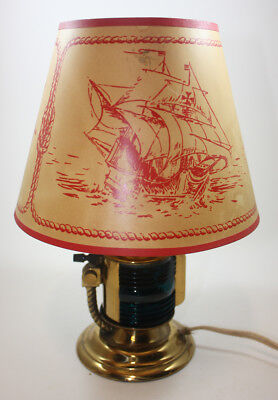 VINTAGE CHASE Newport BRASS Desk LAMP with Shade NAUTICAL Green/Red Glass