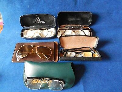 5X Old Pairs Of Spectacles Glasses Sunglasses & Cases