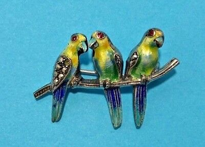 Vintage Sterling Silver Marcasite Enamel Parrot trio on Branch BIRD Pin Brooch