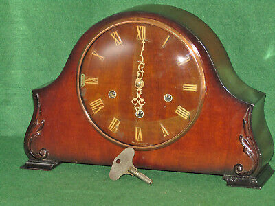 Vintage Smiths Westminster chiming mantel clock with key Working Perfect