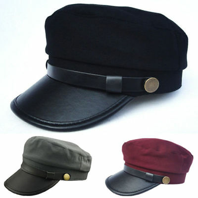 Men/Women Army Leather Cap Cadet Military Navy Sailor Flat Top Sun Hat Vintage