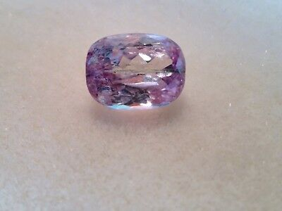 loose gemstone SOFT PINK KUNZITE oblong cushion  15 cts  grass like inclusion