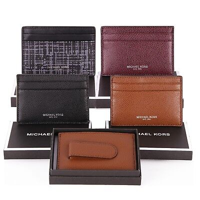 79585ee02ca8 NWT Michael Kors Mens WARREN Leather Card Holder Case Money Clip in Gift Box