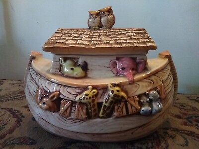 Vintage TREASURE CRAFT Ceramic Pottery NOAH'S ARK Cookie Jar ~ Made in USA