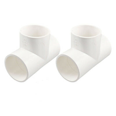 2Pcs 3 Way Water Hose Fitting Coupler Connectors 50mm White Y8E8 SHJ