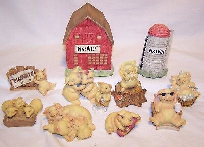 Lot Of 11 Pigsville Pig Figurines Barn & Silo Super Clean & Excellent Condition