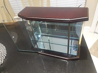 Custom Jewelry Display Case Glass and Wood with Light - Mirrored Back