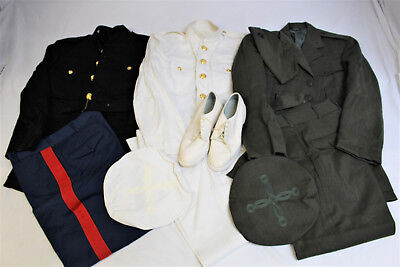 Usmc Marine Corps Officer 3 Set Of Dress Uniform Blue White And Green Lot