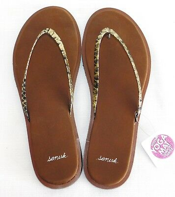54abc74e818a8 New Womens Size 6 Sanuk Yoga Venus Luxe Gold Snake Thin Flip Flops Sandals