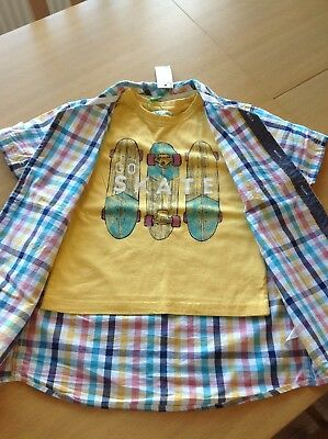 boys summer t-shirt and shirt set m & co age 3-4 years