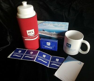 NCL Norwegian Cruise Line Lot = Coffee Cup, Thermos, Cards, Stickers, Paper Pad