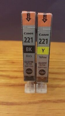 Genuine Canon Ink~Cli-221Bk~Black~Cli-221Y~Yellow~Sealed Plastic Wrappers~2 Pack