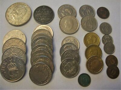 Mixed Lot of Coins From the Kingdom of Sweden. Ore & Kronor Some Silver