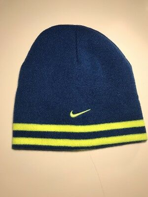 NWOT Reversible Nike Winter Beanie Blue Hats 4 - 7 Boys $30 Embroidered Swoosh