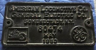 American Locomotive ALCO GE Railroad Builders Plate - 80474 - May 1953