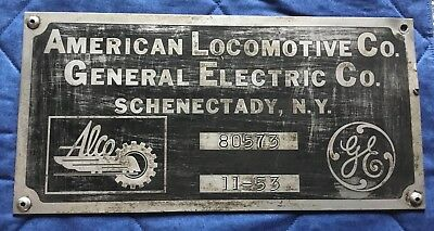 American Locomotive ALCO GE Railroad Builders Plate - 80573 - November 1953