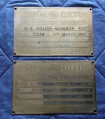 2 General Electric Diesel-Electric Locomotive Builder Plates - 15238 - Mar 1942