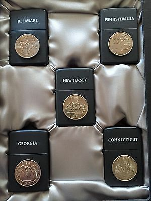 Limited Edition 1999 State Quarters 5 Piece Zippo Lighter Set (1 of 5000) - NEW
